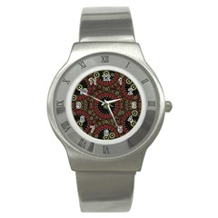 Digital Abstract Geometric Pattern In Warm Colors Stainless Steel Watch (slim) by dflcprints