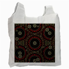 Digital Abstract Geometric Pattern In Warm Colors White Reusable Bag (one Side) by dflcprints