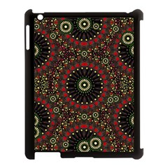 Digital Abstract Geometric Pattern In Warm Colors Apple Ipad 3/4 Case (black) by dflcprints