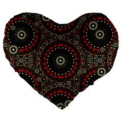 Digital Abstract Geometric Pattern In Warm Colors 19  Premium Heart Shape Cushion