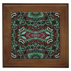Tribal Ornament Pattern In Red And Green Colors Framed Ceramic Tile by dflcprints
