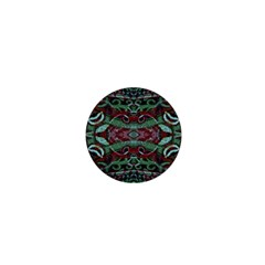 Tribal Ornament Pattern In Red And Green Colors 1  Mini Button Magnet by dflcprints