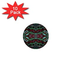 Tribal Ornament Pattern In Red And Green Colors 1  Mini Button (10 Pack) by dflcprints