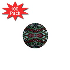 Tribal Ornament Pattern In Red And Green Colors 1  Mini Button Magnet (100 Pack) by dflcprints