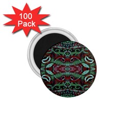 Tribal Ornament Pattern In Red And Green Colors 1 75  Button Magnet (100 Pack) by dflcprints