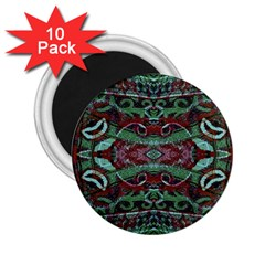 Tribal Ornament Pattern In Red And Green Colors 2 25  Button Magnet (10 Pack) by dflcprints