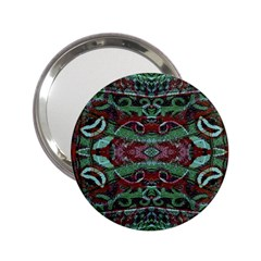 Tribal Ornament Pattern In Red And Green Colors Handbag Mirror (2 25 ) by dflcprints