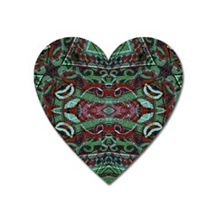 Tribal Ornament Pattern In Red And Green Colors Magnet (heart) by dflcprints