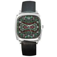 Tribal Ornament Pattern In Red And Green Colors Square Leather Watch by dflcprints