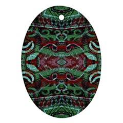 Tribal Ornament Pattern In Red And Green Colors Oval Ornament (two Sides) by dflcprints