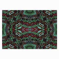 Tribal Ornament Pattern In Red And Green Colors Glasses Cloth (large) by dflcprints