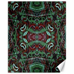 Tribal Ornament Pattern In Red And Green Colors Canvas 11  X 14  (unframed) by dflcprints