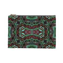 Tribal Ornament Pattern in Red and Green Colors Cosmetic Bag (Large) by dflcprints
