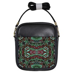 Tribal Ornament Pattern In Red And Green Colors Girl s Sling Bag by dflcprints