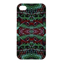 Tribal Ornament Pattern In Red And Green Colors Apple Iphone 4/4s Premium Hardshell Case by dflcprints