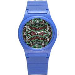 Tribal Ornament Pattern In Red And Green Colors Plastic Sport Watch (small) by dflcprints