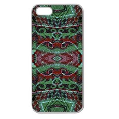 Tribal Ornament Pattern In Red And Green Colors Apple Seamless Iphone 5 Case (clear) by dflcprints