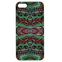 Tribal Ornament Pattern In Red And Green Colors Apple Iphone 5 Hardshell Case With Stand by dflcprints