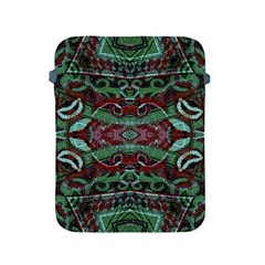 Tribal Ornament Pattern in Red and Green Colors Apple iPad Protective Sleeve by dflcprints