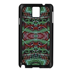 Tribal Ornament Pattern In Red And Green Colors Samsung Galaxy Note 3 N9005 Case (black) by dflcprints