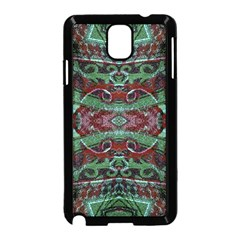 Tribal Ornament Pattern In Red And Green Colors Samsung Galaxy Note 3 Neo Hardshell Case (black) by dflcprints