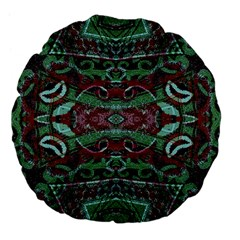 Tribal Ornament Pattern In Red And Green Colors 18  Premium Flano Round Cushion  by dflcprints