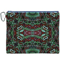 Tribal Ornament Pattern in Red and Green Colors Canvas Cosmetic Bag (XXXL) by dflcprints