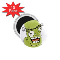 Mad Monster Man With Evil Expression 1 75  Button Magnet (10 Pack) by dflcprints