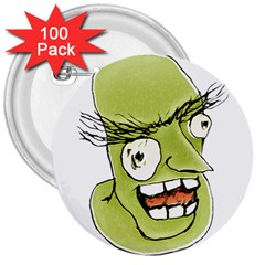 Mad Monster Man With Evil Expression 3  Button (100 Pack) by dflcprints