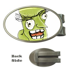 Mad Monster Man With Evil Expression Money Clip (oval) by dflcprints