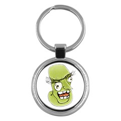 Mad Monster Man With Evil Expression Key Chain (round) by dflcprints
