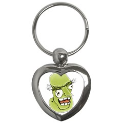 Mad Monster Man With Evil Expression Key Chain (heart) by dflcprints
