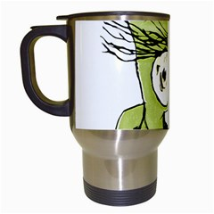 Mad Monster Man With Evil Expression Travel Mug (white) by dflcprints