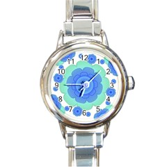 Retro Style Decorative Abstract Pattern Round Italian Charm Watch by dflcprints