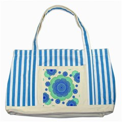 Retro Style Decorative Abstract Pattern Blue Striped Tote Bag by dflcprints