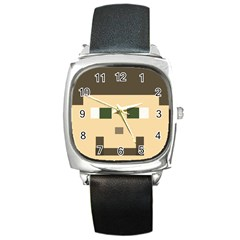 Custom Block Head Square Leather Watch by BlockCrafts