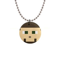 Custom Block Head Button Necklace by BlockCrafts