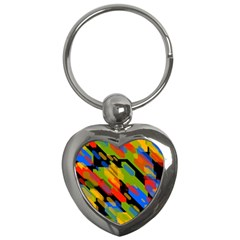 Colorful Shapes On A Black Background Key Chain (heart) by LalyLauraFLM