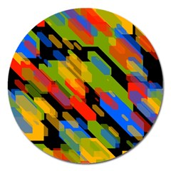Colorful shapes on a black background Magnet 5  (Round) by LalyLauraFLM