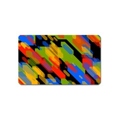 Colorful Shapes On A Black Background Magnet (name Card) by LalyLauraFLM