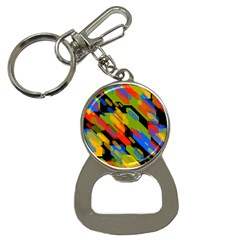Colorful Shapes On A Black Background Bottle Opener Key Chain by LalyLauraFLM