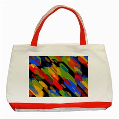 Colorful Shapes On A Black Background Classic Tote Bag (red) by LalyLauraFLM