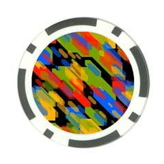 Colorful Shapes On A Black Background Poker Chip Card Guard (10 Pack) by LalyLauraFLM