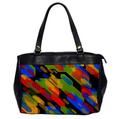 Colorful Shapes On A Black Background Oversize Office Handbag (one Side) by LalyLauraFLM