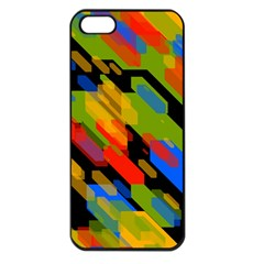Colorful Shapes On A Black Background Apple Iphone 5 Seamless Case (black) by LalyLauraFLM