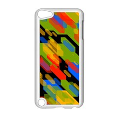Colorful shapes on a black background Apple iPod Touch 5 Case (White) by LalyLauraFLM