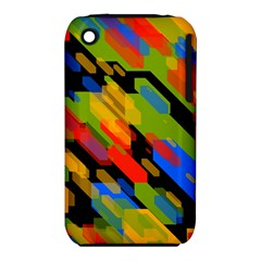 Colorful shapes on a black background Apple iPhone 3G/3GS Hardshell Case (PC+Silicone)