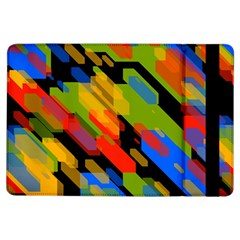 Colorful Shapes On A Black Background Apple Ipad Air Flip Case by LalyLauraFLM