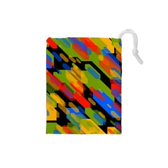 Colorful Shapes On A Black Background Drawstring Pouch (small) by LalyLauraFLM