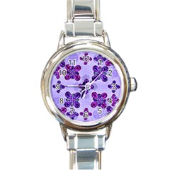 Deluxe Ornate Pattern Design In Blue And Fuchsia Colors Round Italian Charm Watch by dflcprints